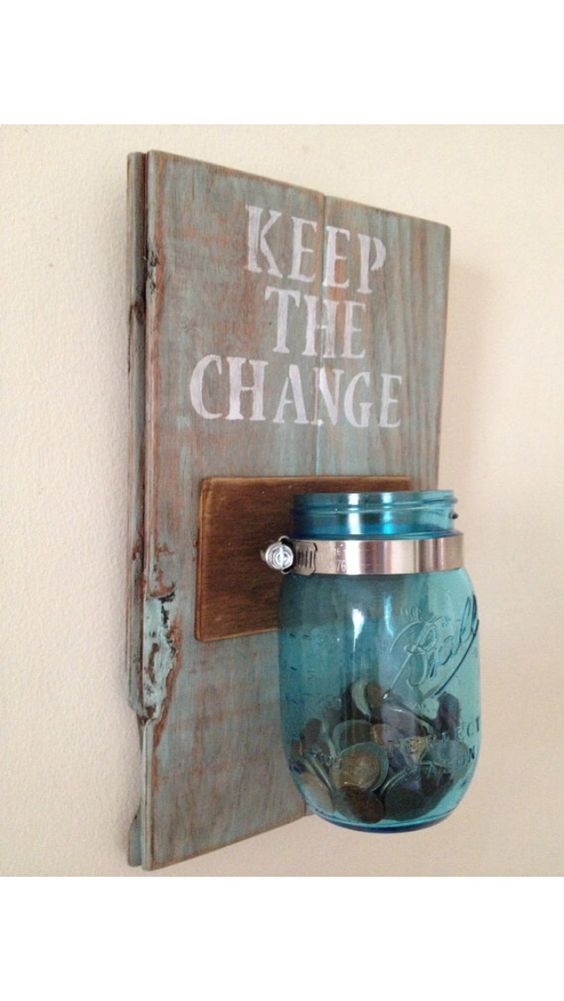 Mason Jar Change Collector - not sure if I pinned this, but this is a great idea for the laundry room