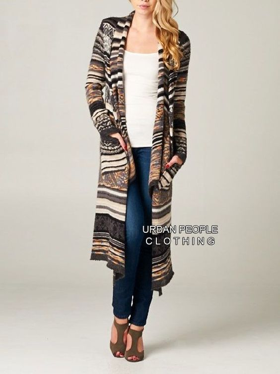 Urban People Black Cozy Fair Isle Slouchy Duster/Sweater Coat