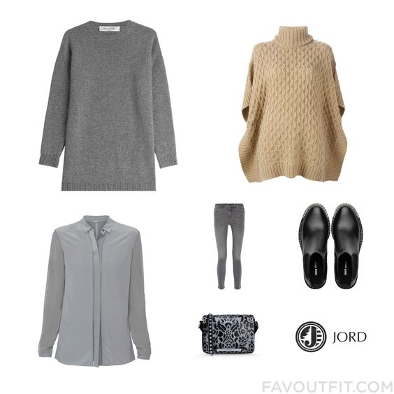 Look Collection Featuring Valentino Sweater Poncho Sweater Elie Tahari Blouse And High-Waisted Skinny Jeans From December 2015 #outfit #look