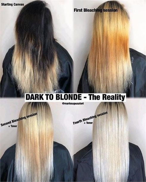 The Reality Of Transitioning From Dark To Blonde Hair Color Techniques Color Correction Hair Bleaching Dark Hair