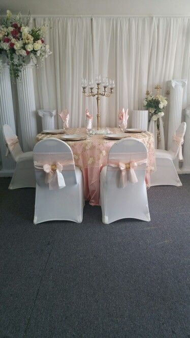 Peach, Ivory and Gold wedding table setup. #PeachIvoryandGold #Wedding #TableSetup #Candelabra