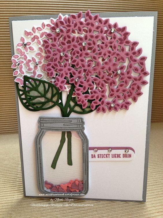 """Stampin' Up! Karte mit den Stempelsets """"Wald der Worte"""", Glasklare Grüße"""" und """"Worte, die gut tun"""" sowie den Thinlits """"Blatt und Blüte"""" und den Framelits """"Einweckgläser für alle Fälle"""". Jar of Love / Everyday Jars / Thoughtful Branches / Beautiful Branches"""