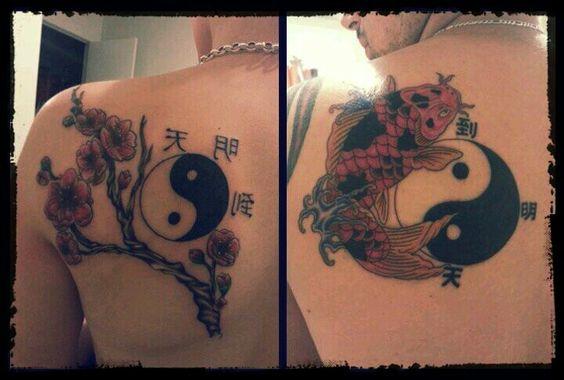 Couples tattoo koi fish ying yang chinese symbols ink for Yin yang couples tattoos