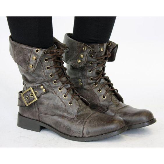 Bottes Femme Militaire Noir Brunes Vintage Chaussures Plates Bottines Shoes Pinterest
