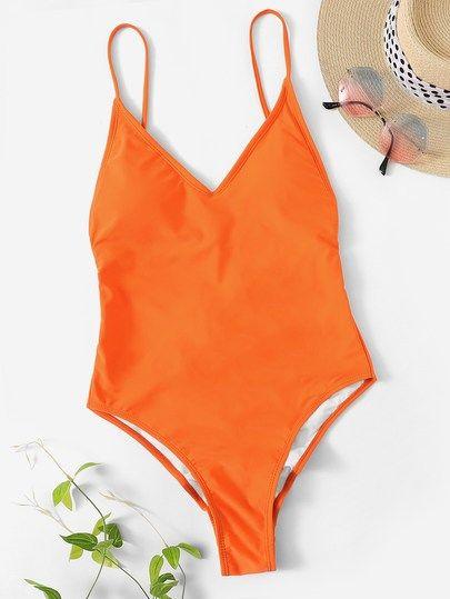 Neon Orange Lace Up Backless One Piece Swimsuit Trajes De Bano De Cintura Alta Trajes De Bano Banadores De Una Pieza