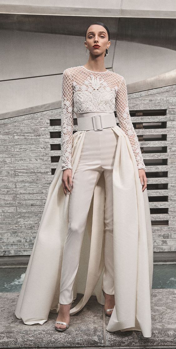detachable skirt pantsuit wedding idea - wedding ideas - wedding planning services - weddings by K'Mich in Philadelphia PA - naeem khan