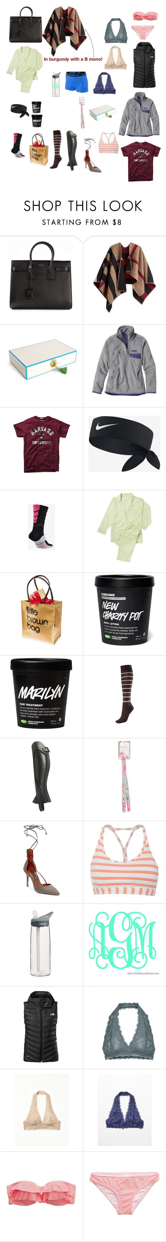 """""""Christmas Day haul!/**disclaimer in d**"""" by liprep ❤ liked on Polyvore featuring Yves Saint Laurent, Burberry, Jonathan Adler, Patagonia, NIKE, Marigot, Bloomingdale's, Lilly Pulitzer, Steven by Steve Madden and Reebok"""