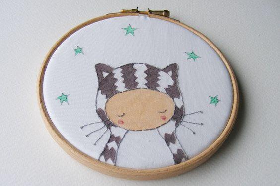 Tabby Cat, Hoop Art, Children's Wall Art, Cat Art by OneLittleBundle on Etsy