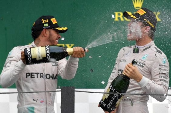 How REAL MEN drink champagne: Hamilton & Rosberg