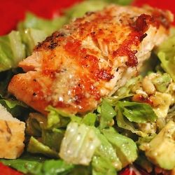 Grilled seasoned salmon over a delightful mustard/dill/balsamic salad with Pine nuts and Gorgonzola