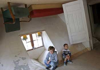 The Upside-Down House was created by Daniel Czapiewski in the village of Szymbark, northern Poland, on July 31, 2007. It represents not merely a bizarre tourist attraction, but is also meant to be a profound statement about the Communist era. It took 114 days to build the house, because the workers were disorientated by the strange angles of the walls.