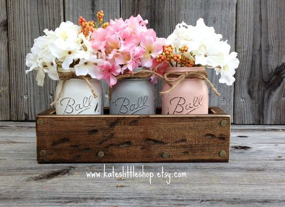 Rustic Planter Box With 3 Painted Mason Jars Mason Jars Rustic Home Decor Vintage Grey