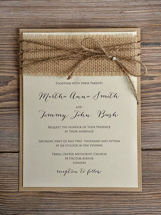 Rustic Blossom Wedding Invitation, Country Style Wedding Invitations,Birch Bark Wedding Invitations, Burlap Wedding Invitation: