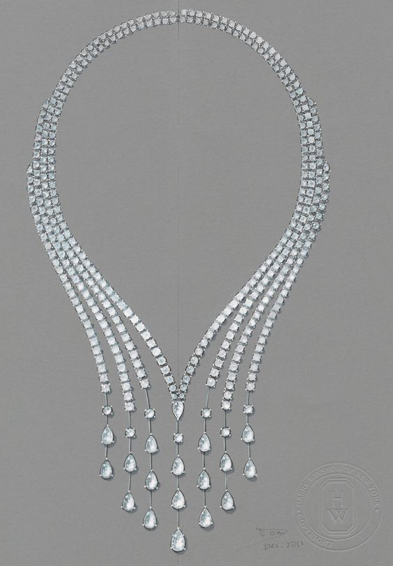 Design for the Drop necklace from the Harry Winston Water collection.