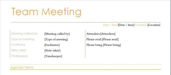 Team Meeting Agenda Template Microsoft Word Templates - agenda word