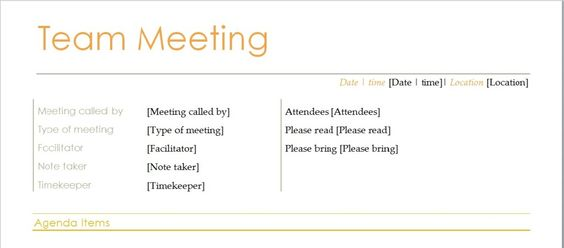 Team Meeting Agenda Template – Microsoft Word Agenda Template
