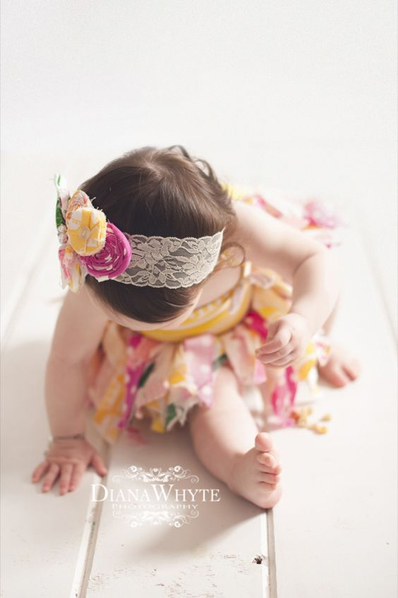 Girls Birthday tutu and hairband pink and yellow rag tutu www.DianaWhytePhotography.com