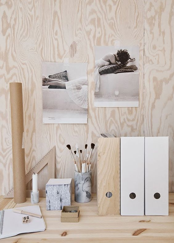 Workspace wood. Wood love the unfinished home - Rebecca Centren