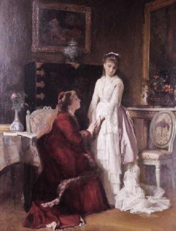 Charles Baugniet (Belgian artist , 1814-1886) The Bride and Her Sister: