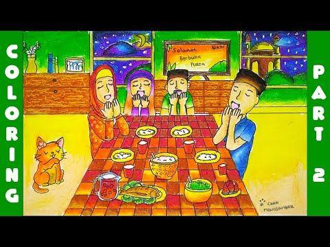 Cara Menggambar Dan Mewarnai Bulan Ramadhan Buka Puasa Dengan