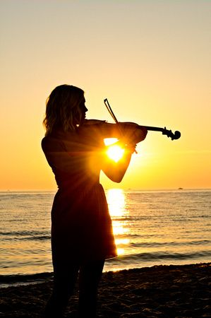 High School Senior Photography Silhouette, Violin Photo by Monson Photography - Ludington, Michigan: