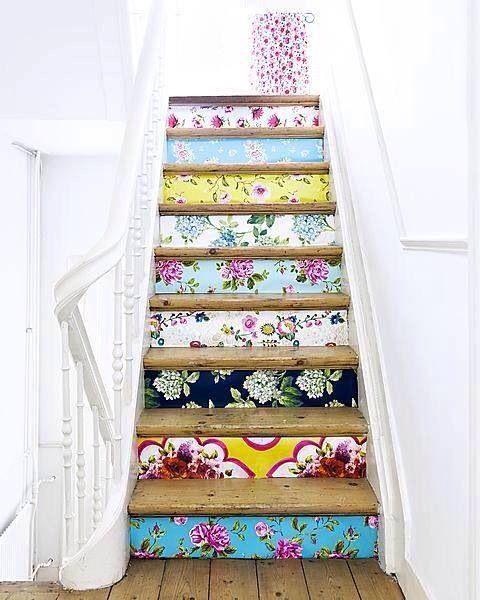 Wallpaper sample staircase! Beautiful!