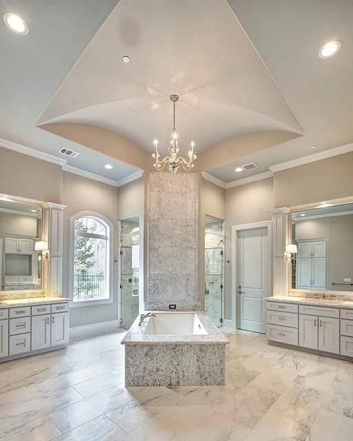 Master Bathroom With Double Vanities And Walk In Shower Bathroom Bathrooms Homes Mansion Ma Luxury Master Bathrooms Master Bathroom Double Vanity Bathroom