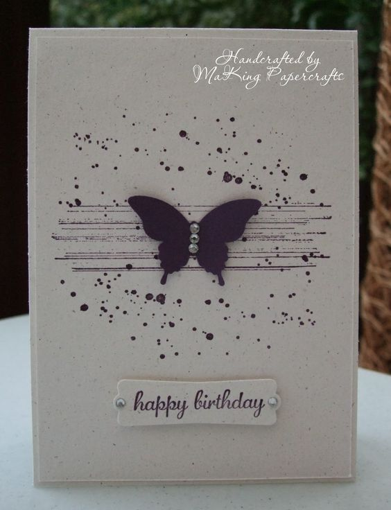 Gorgeous Grunge simple & elegant butterfly card. Pearl embellishments on the punched butterfly.