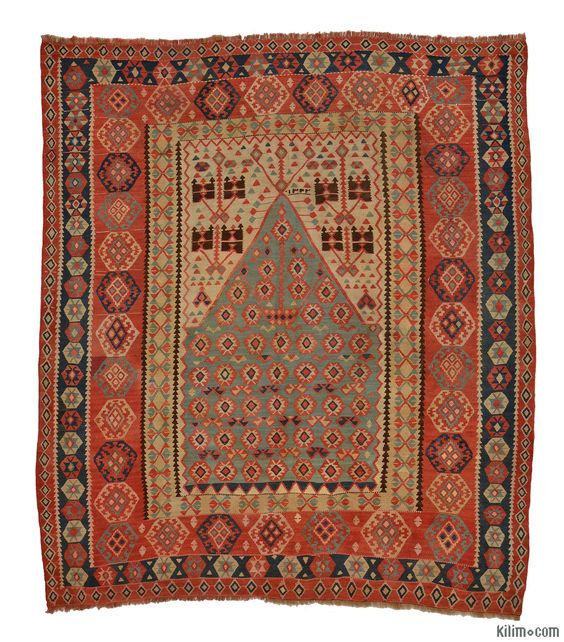 Antique Erzurum Kilim around 100 years old. This finely woven vegetable-dyed piece is in great condition.
