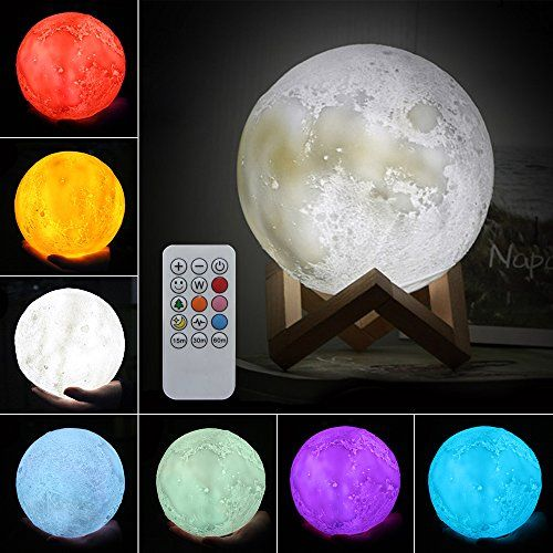 Jian Ya Na Moon Lamp 3d Printing Led Night Light Creative Moon Light 7 Colors Remote Control Dimmable Brightness Adjustment Home Decorative Table Bedside Great Creative Gifts For Kids Led Night