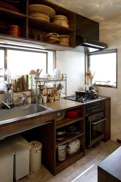 造作キッチン インテリア 設備機器 ゴミ箱 収納 オープン 実例