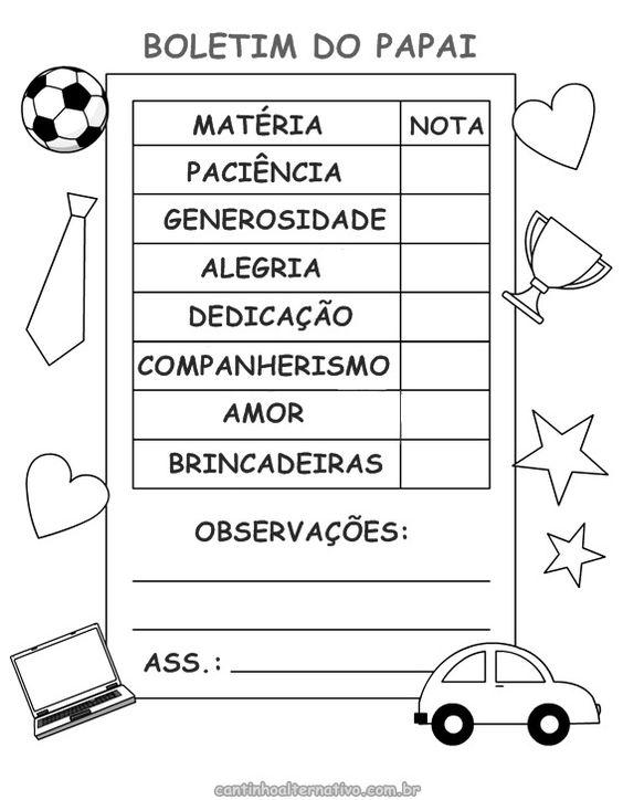 Atividade - Boletim do Papai Para Imprimir - Blog Cantinho Alternativo