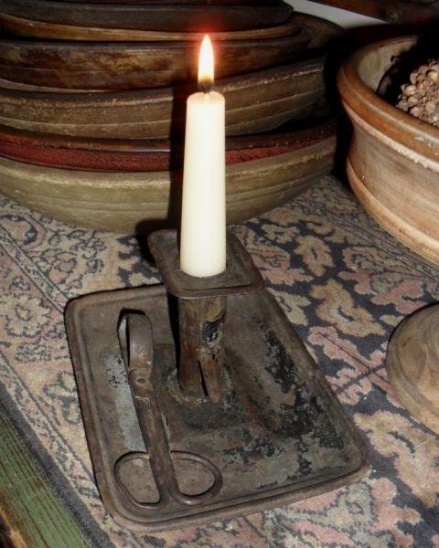 Tin hog scraper candlestick & wick trimmer