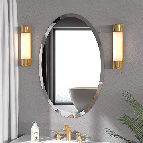 24 X 35 Beveled Polished Oval Mirror, Oval Frameless Bathroom Mirror