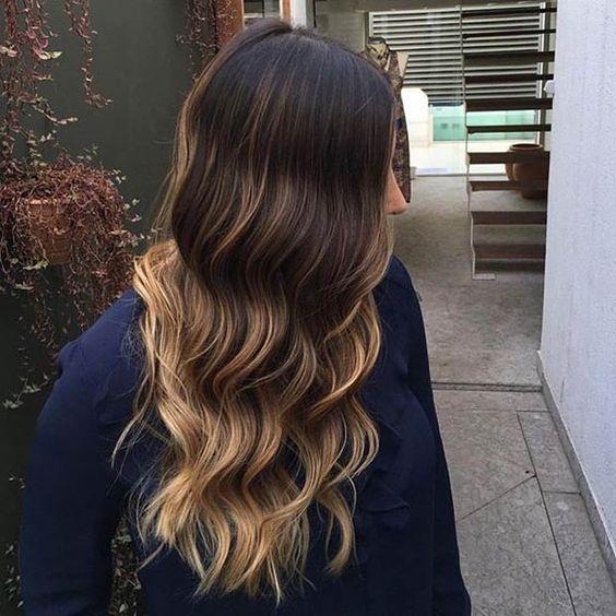 Gold Blonde Balayage on Dark Hair
