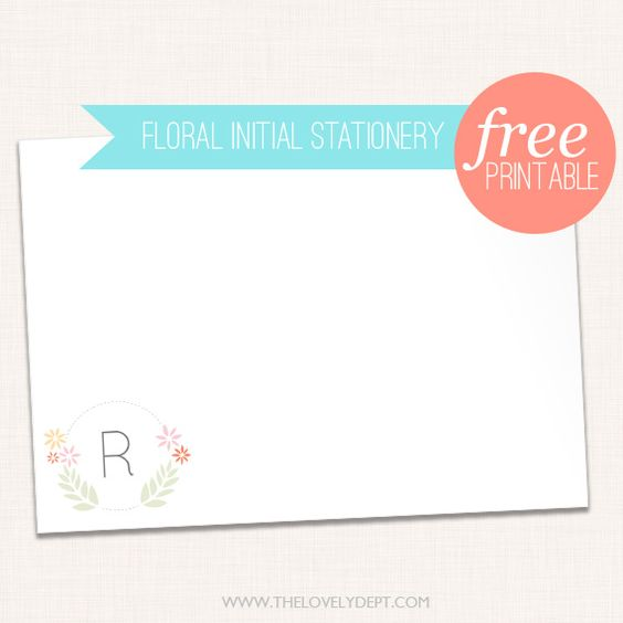 Free floral initial stationery card - blank + editable versions available