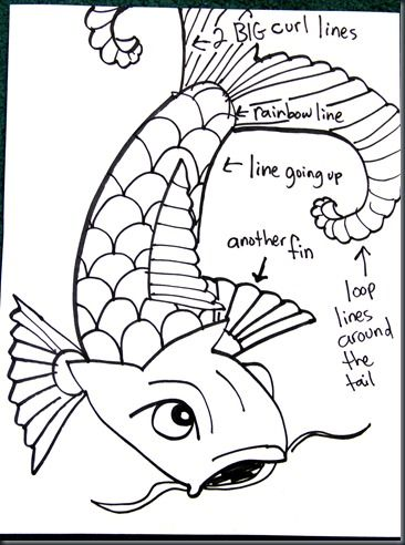 how to draw a coy fish step by step