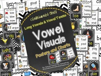 CHEVRON & CHALKBOARD *VOWEL VISUALS (VOWEL TEAMS/LONG VOWELS) POSTERS & CHARTS* - $