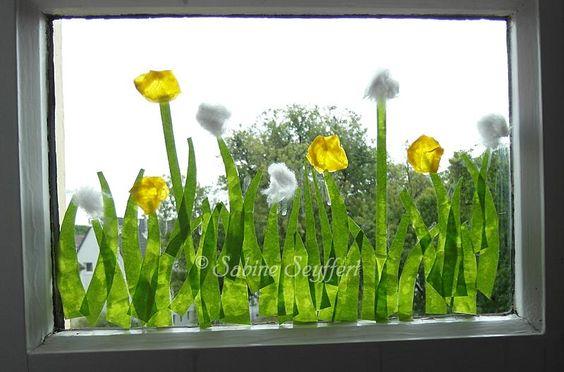 Blumenwiese pusteblume 1 kindergarten kreatives pinterest - Fensterdeko klassenzimmer ...