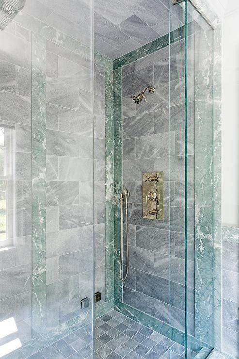 Green Marble Shower Accent Border Tiles In A Master Bathroom