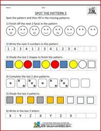 spot the pattern 3 printable kindergarten worksheet math sequences cute school ideas. Black Bedroom Furniture Sets. Home Design Ideas