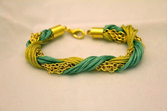 braided bracelet gold chain laced with teal and by VioletMiche, $16.99