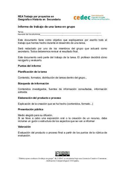 Informe de trabajo de una tarea Rubriques Pinterest - formato de informe escrito