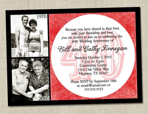 40th Anniversary Invitations Templates Free | Wedding Invitation ...