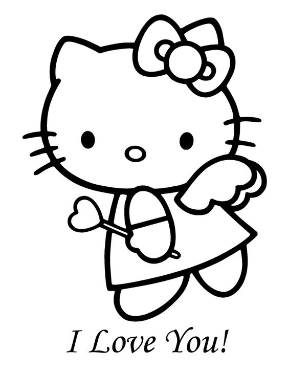 print hello kitty coloring pages angle | Hello Kitty Angel Valentine Coloring Page