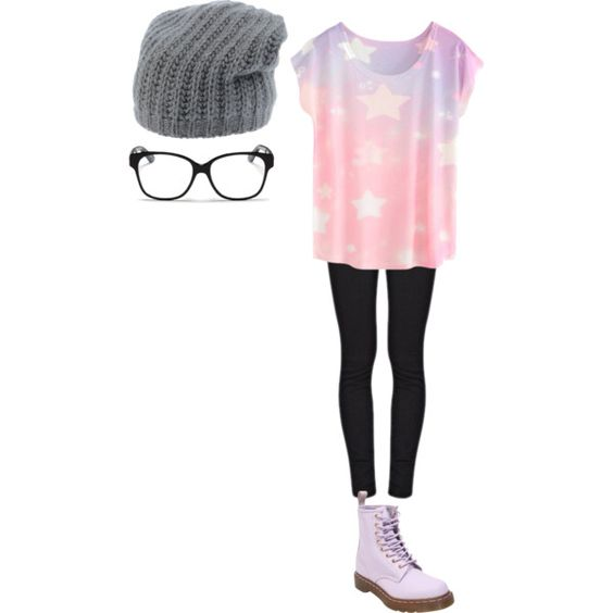 Pastel Goth by sk8erg1rl on Polyvore featuring polyvore, fashion, style, Paige Denim, Dr. Martens, Christian Dior and Miki Thumb