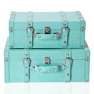 Mint-turquoise decor suitcases. gildedmint.blogspot.com: