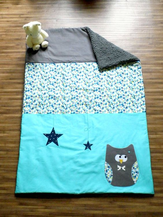 Couverture bébé personnalisée thême hibou étoiles turquoise gris bleu marine