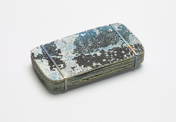 Dovile Bernadisiute Brooch: Untitled, 2015 Dry paint, Titan, stainless steel 12 x 6 x 1 cm From series: Layers of Paint: