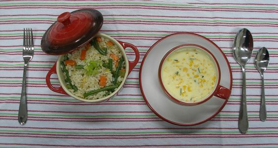 Rice with corn soup